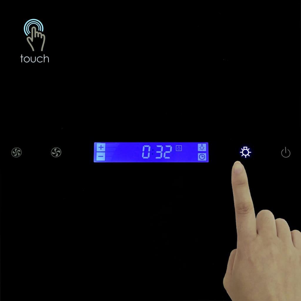 VidaXL Cappa aspirante 60 cm in acciaio inox e vetro temperato nero