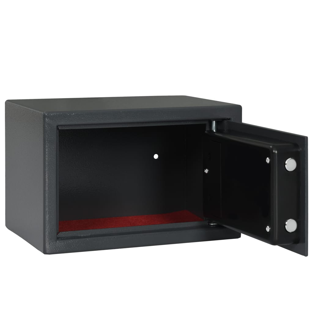 vidaXL Cassaforte a Sensore Impronta Digitale Cassa di Sicurezza a Muro Antifurto a Pavimento in Acciaio Grigio Scuro 31x20x20 cm