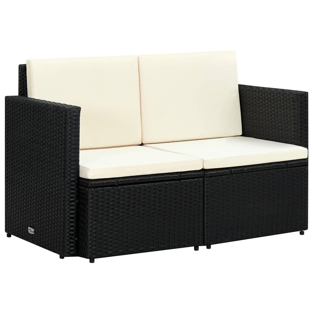 Divani Da Esterno Impermeabili divano da giardino a 2 posti con cuscini in polyrattan nero -