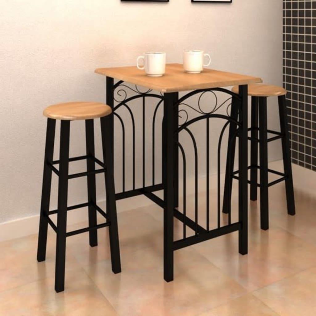Set Tavolo da Pranzo / Bar e Sedie in Legno e Acciaio ...