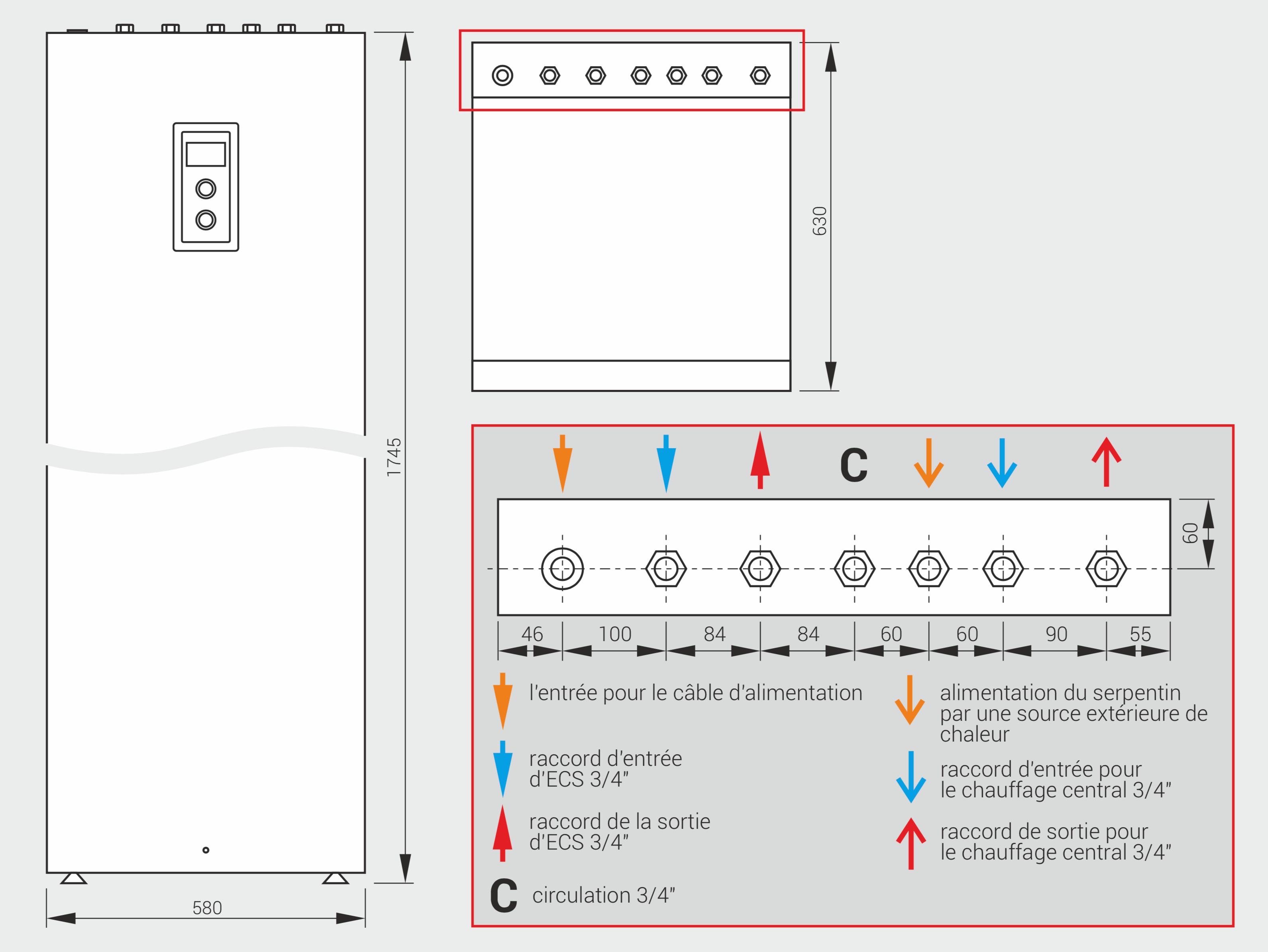 Dimensions de la chaudière électrique Kospel EKD.M3 chauffage central et ECS