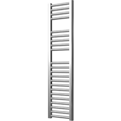 Extra High Heat Output Chrome Electric Towel Rail 300 x 1200mm + TIMER / ROOM THERMOSTAT Flat Bathroom Radiator Heater