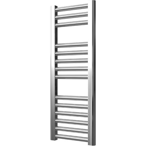 Extra High Heat Output Chrome Electric Towel Rail 300 x 800mm + TIMER / ROOM THERMOSTAT Flat Bathroom Radiator Heater
