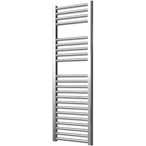 Extra High Heat Output Chrome Electric Towel Rail 400 x 1200mm + TIMER / ROOM THERMOSTAT Flat Bathroom Radiator Heater