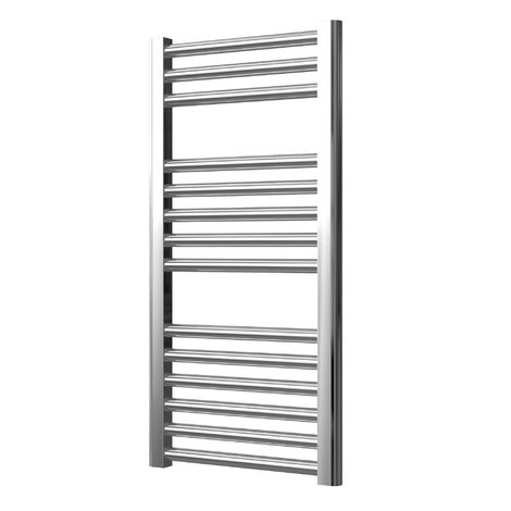 Extra High Heat Output Chrome Electric Towel Rail 400 x 800mm + TIMER / ROOM THERMOSTAT Flat Bathroom Radiator Heater