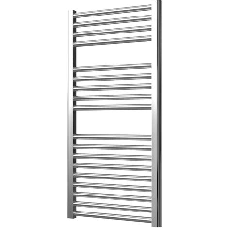 Extra High Heat Output Chrome Electric Towel Rail 500 x 1000mm + TIMER / ROOM THERMOSTAT Curved Bathroom Radiator Heater