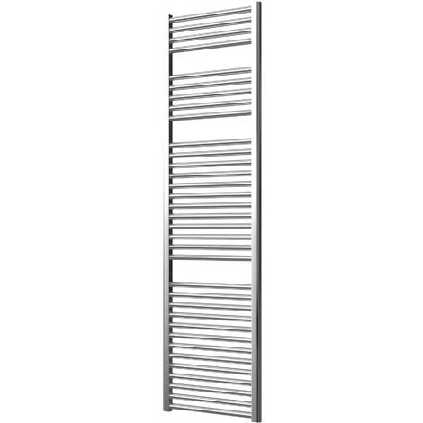 Extra High Heat Output Chrome Electric Towel Rail 500 x 1800mm + TIMER / ROOM THERMOSTAT Curved Bathroom Radiator Heater