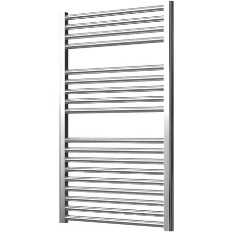 Extra High Heat Output Chrome Electric Towel Rail 600 x 1000mm + TIMER / ROOM THERMOSTAT Curved Bathroom Radiator Heater