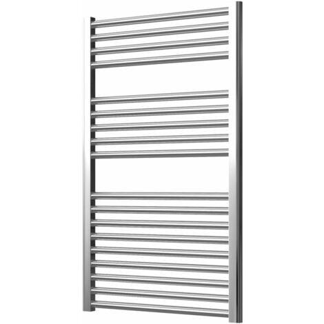 Extra High Heat Output Chrome Electric Towel Rail 600 x 1000mm + TIMER / ROOM THERMOSTAT Flat Bathroom Radiator Heater