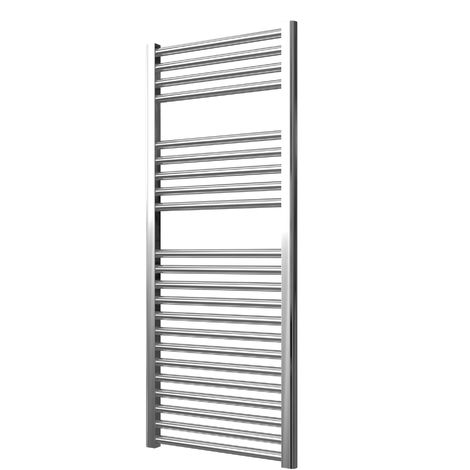 Extra High Heat Output Chrome Electric Towel Rail 600 x 1200mm + TIMER / ROOM THERMOSTAT Curved Bathroom Radiator Heater
