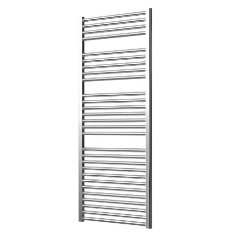 Extra High Heat Output Chrome Electric Towel Rail 600 x 1500mm + TIMER / ROOM THERMOSTAT Curved Bathroom Radiator Heater