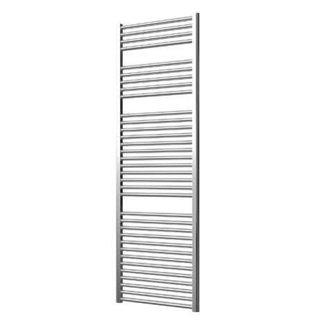 Extra High Heat Output Chrome Electric Towel Rail 600 x 1800mm + TIMER / ROOM THERMOSTAT Curved Bathroom Radiator Heater