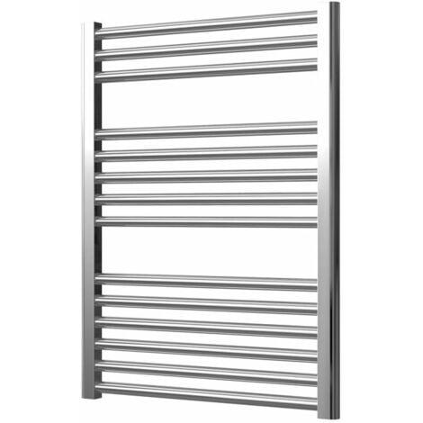Extra High Heat Output Chrome Electric Towel Rail 600 x 800mm + TIMER / ROOM THERMOSTAT Flat Bathroom Radiator Heater