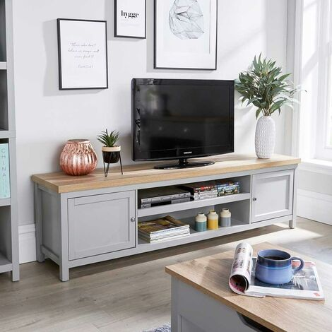 """main image of """"Extra Large 180cm Grey Oak TV Stand 1 Drawer Cabinet Television Unit Cable Tidy"""""""