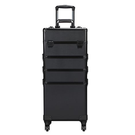 Extra Large 4-in-1 Hairdressing Makeup Vanity Case Beauty Cosmetics Case Box Trolley Black