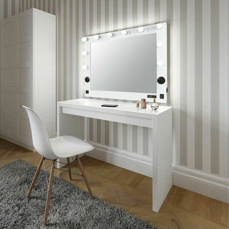 Extra Large Artist Cosmetic Makeup Mirror with Led Light, Bluetooth Speaker, USB