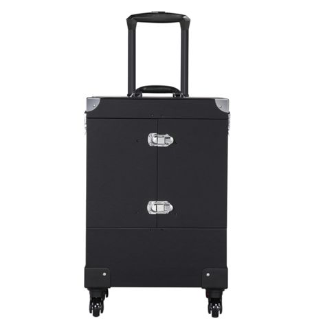Yaheetech Extra Large Cosmetic Case Trolley on Universal Wheels Professional Makeup Box with Mirror Black