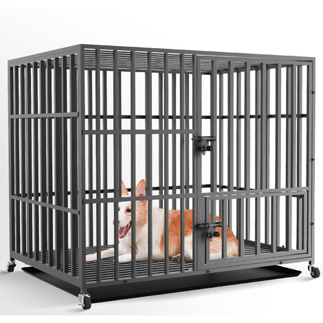 """main image of """"Extra Large Heavy Duty Pet Dog Cage Strong Metal Crate Kennel Playpen with Wheels & Tray,42"""""""""""