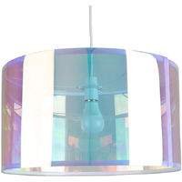 Extra Large Modern Iridescent Multi Coloured Cylinder Ceiling Pendant / Table Lamp Drum Light Shade