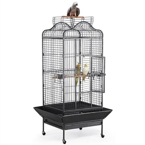Extra Large Rolling Metal Bird Cage Parrot Cage for African Grey Parakeets Cockatiels with Stand Playtop Black 160cm High