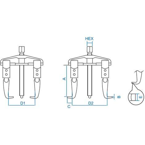 Extracteur 2 griffes monobloc 10T 210x240