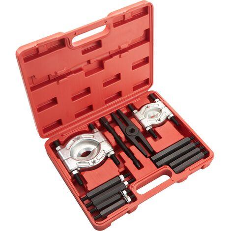 Extractor de cojinetes de 12 elementos - herramientas extractoras de rodamientos con maletín, juego de herramientas para taller mecánico, set de herramientas para extraer engranajes - rojo