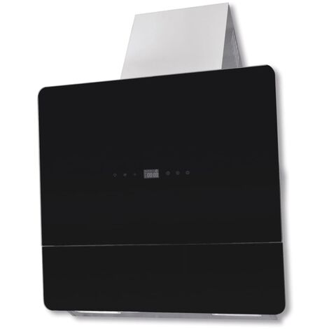 Extractor negro de cocina de cristal con pantalla, 600 mm
