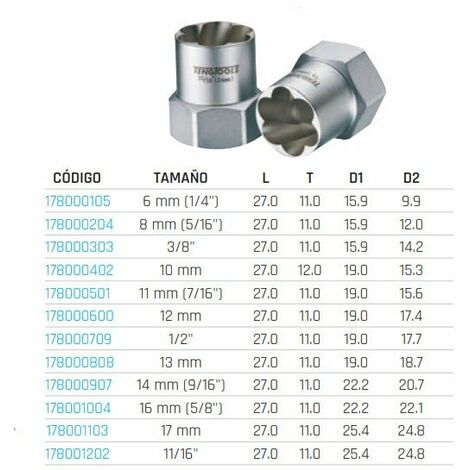 "Extractor para tuercas 3/8"" TENGTOOLS 178000303"