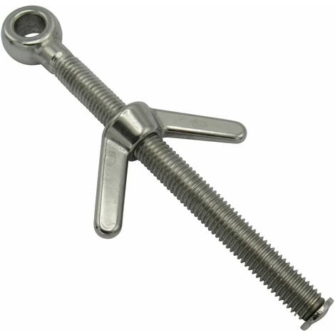 Eye Bolt with Wing Nut Stainless Steel 10MM x 60MM (Marine Butterfly Boat Rigging)