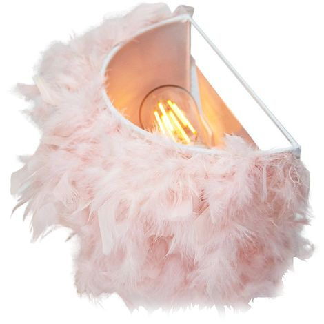 Eye-Catching and Contemporary Real Pink Feather Decorated Flush Wall Light by Happy Homewares
