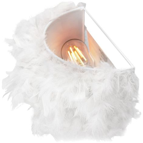 Eye-Catching and Contemporary Real White Feather Decorated Flush Wall Light by Happy Homewares