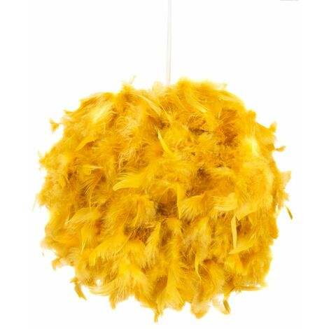 Eye-Catching and Designer Small Ochre Feather Decorated Pendant Lighting Shade by Happy Homewares