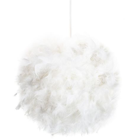 Eye-Catching and Designer Small White Feather Decorated Pendant Lighting Shade by Happy Homewares