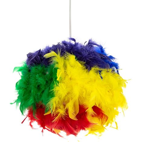 Eye-Catching and Modern Multi-Coloured Feather Decorated Pendant Lighting Shade by Happy Homewares