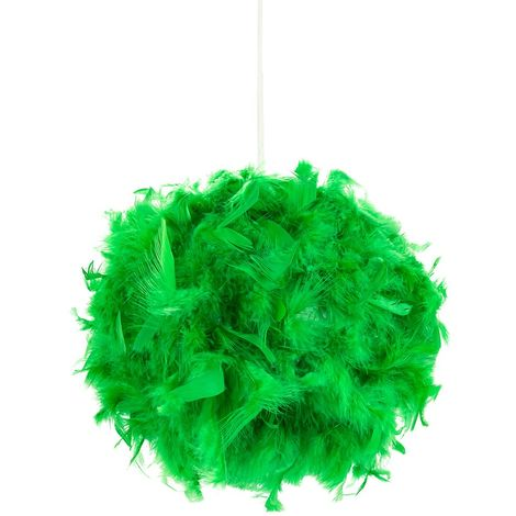 Eye-Catching and Modern Small Green Feather Decorated Pendant Lighting Shade by Happy Homewares