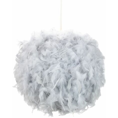 Eye-Catching and Modern Small Grey Feather Decorated Pendant Lighting Shade by Happy Homewares