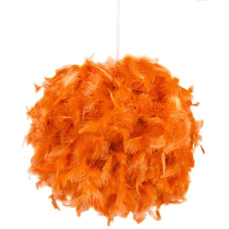 Eye-Catching and Modern Small Orange Feather Decorated Pendant Lighting Shade by Happy Homewares