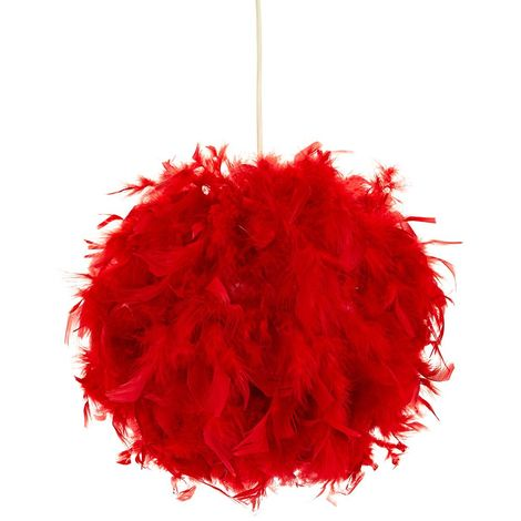 Eye-Catching and Modern Small Red Feather Decorated Pendant Lighting Shade by Happy Homewares