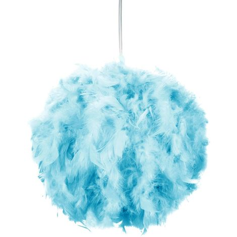 Eye-Catching and Modern Small Teal Feather Decorated Pendant Lighting Shade by Happy Homewares