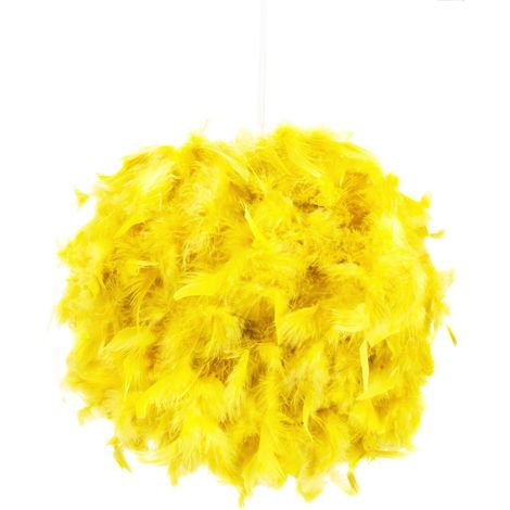 Eye-Catching and Modern Small Yellow Feather Decorated Pendant Lighting Shade by Happy Homewares