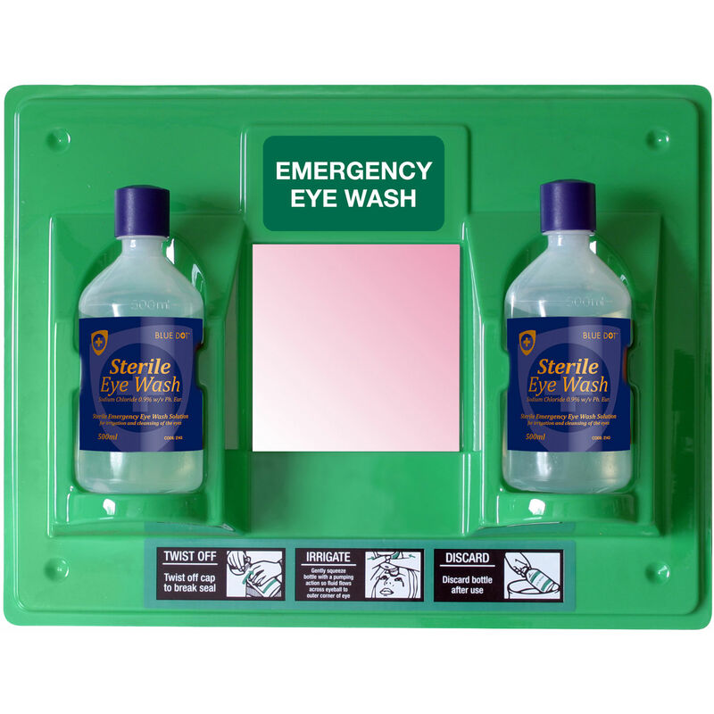 Image of 30EWST21 Eye Wash Station with Label and Mirror - Eyecare Solutions