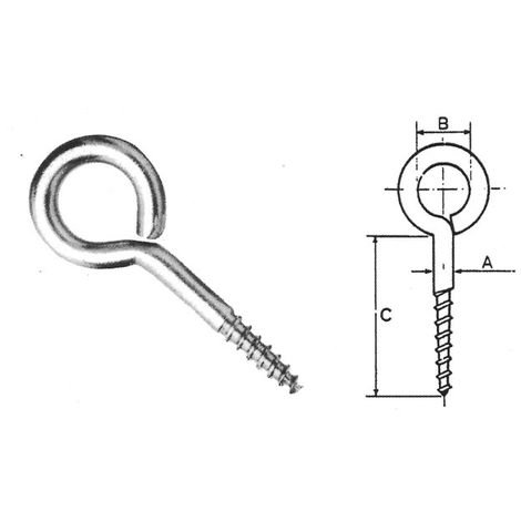 Eyelet Eyepin Screw - 52 x 5 mm T304 (A2) Stainless Steel