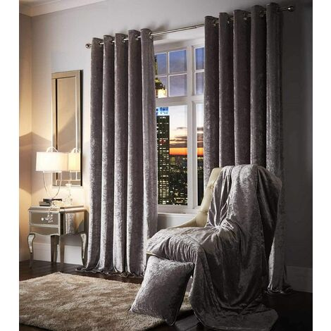 """Eyelet Ring Top Curtains Pair Curshed Velvet Ready Made Esquire Silver 66 x 90"""""""