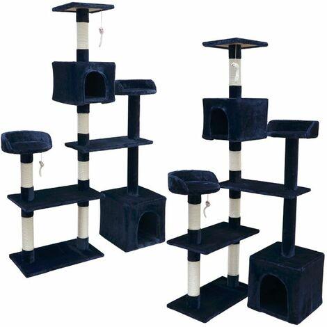 eyepower Árbol Rascador para Gatos Nora altura aprox 165cm | Torre para afilarse las garras trepar jugar dormir | columnas de sisal natural para rascar | revestimiento de peluche suave | Azul Oscuro