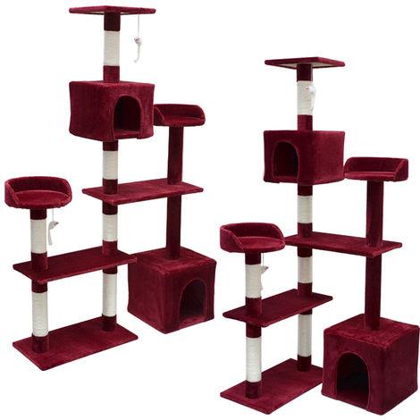 eyepower Árbol Rascador para Gatos Nora altura aprox 165cm | Torre para afilarse las garras trepar jugar dormir | columnas de sisal natural para rascar | revestimiento de peluche suave | Rojo Burdeos