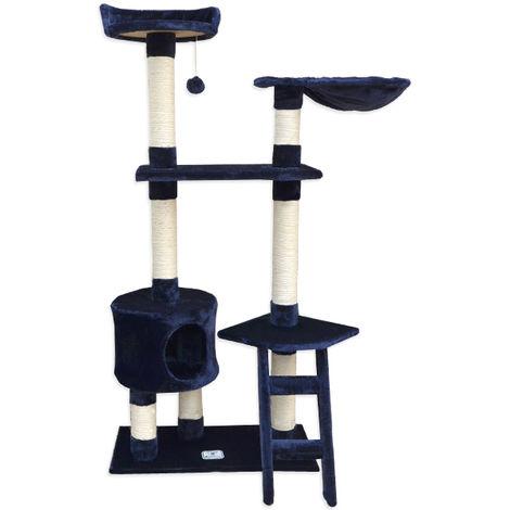 eyepower Árbol Rascador para Gatos Pia altura aprox 142cm | Torre para afilarse las garras trepar jugar dormir | columnas de sisal natural para rascar | revestimiento de peluche suave | Azul Oscuro
