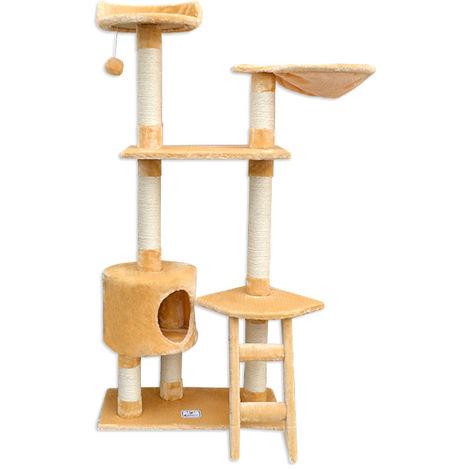 eyepower Árbol Rascador para Gatos Pia altura aprox 142cm | Torre para afilarse las garras trepar jugar dormir | columnas de sisal natural para rascar | revestimiento de peluche suave | Beis