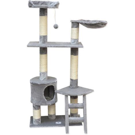 eyepower Árbol Rascador para Gatos Pia altura aprox 142cm | Torre para afilarse las garras trepar jugar dormir | columnas de sisal natural para rascar | revestimiento de peluche suave | Gris