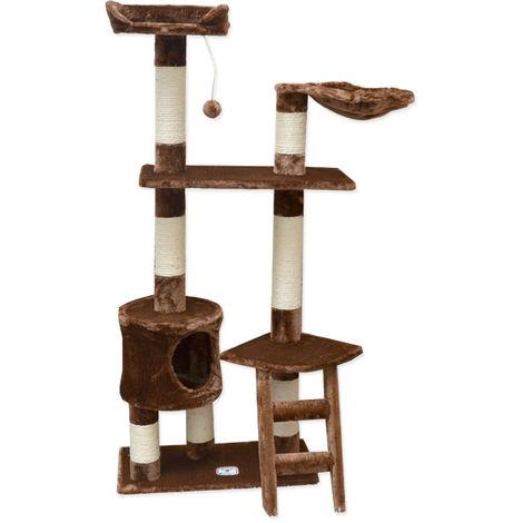 eyepower Árbol Rascador para Gatos Pia altura aprox 142cm | Torre para afilarse las garras trepar jugar dormir | columnas de sisal natural para rascar | revestimiento de peluche suave | Marrón