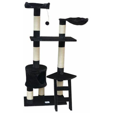 eyepower Árbol Rascador para Gatos Pia altura aprox 142cm | Torre para afilarse las garras trepar jugar dormir | columnas de sisal natural para rascar | revestimiento de peluche suave | Negro